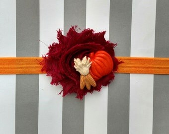 Pumpkin and maize embellished elastic headband for baby, toddler and adult