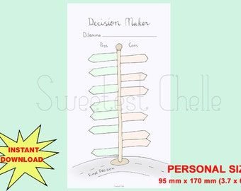 Cute Printable Personal Size Page - Decision Maker - Direction Road Signs Design - Pros and Cons List - Decision Planner - Decision List
