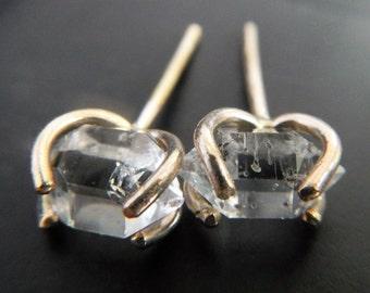 Herkimer Diamond Earrings - Crystal Earrings - Minimalist Earrings - Gold Fill Earrings - Post Earrings - Solid Yellow Gold Fill Earrings