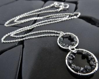 Genuine Black Diamond and Sterling Silver Circle Necklace, Black Diamond Pendant, Pendant Necklace, Rough Diamond Pendant, Geometric Pendant