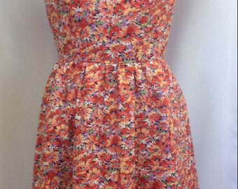 Red flowery dress, UK size 10