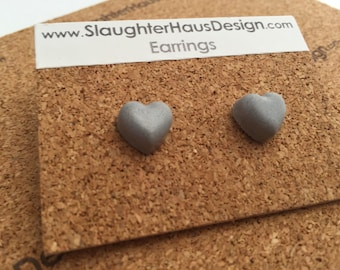 Heart Earrings Ear Studs Concrete Silver Plated