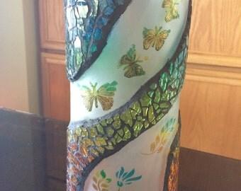 Butterfly garden candle holder or vase