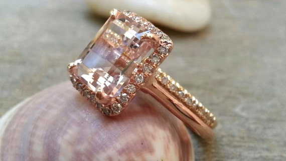 morganite wedding rings morganite engagement ring set 7x9mm emerald cut morganite ring 6018
