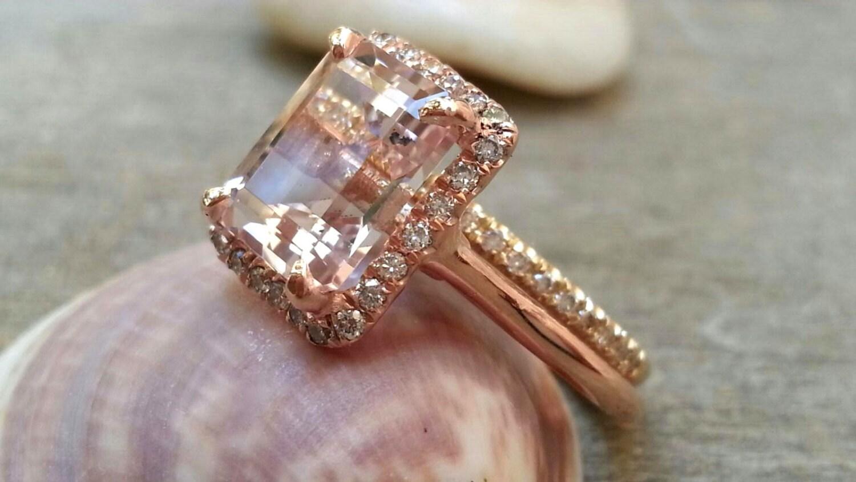 morganite engagement ring set 7x9mm emerald cut morganite ring