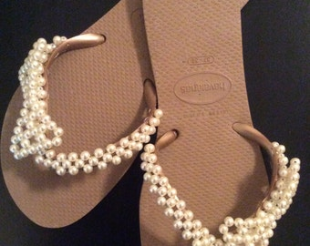 Brown customized Havaianas® Sandals with faux-pearls 610061