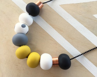 """Polymer clay beaded necklace mustard, grey, white with copper metal beads """"THE SAGE"""""""