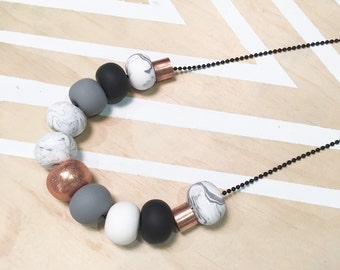 "Polymer clay bead necklace. Polymer clay necklace. Marble, copper, grey, black, white and copper metal beads! ""the bella"""