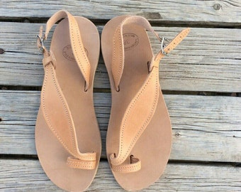 Original Greek sandals, Handmade from Greek genuine leather, Gladiator Flats, Barefoor sandals with anti rubber sole
