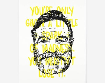 Robin Williams Portrait - Typographic Quote Print - A4 Hand Printed Silkscreen Print