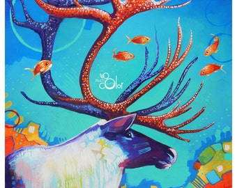 "Caribou and the Fish - Original colorful traditional acrylic painting on paper 11""x14"""