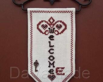 Key banner cross-stitch pattern