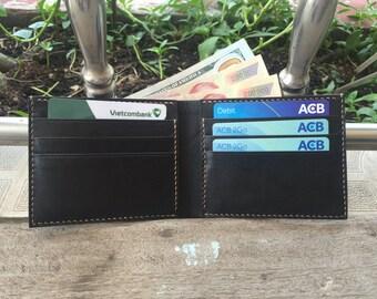 FREE SHIPPING - Genuine Leather Bi-fold Wallet - 100% Handmade - Premium Leather Quanlity