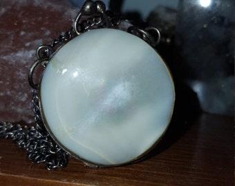 Vintage shell locket necklace