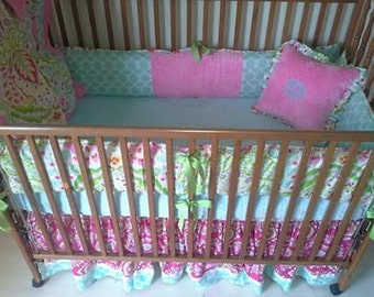 Kumari garden aqua blue and pink baby bedding set