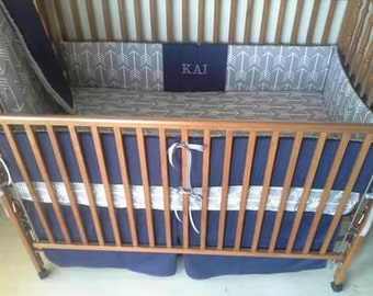 Arrows gray and navy baby bedding set.