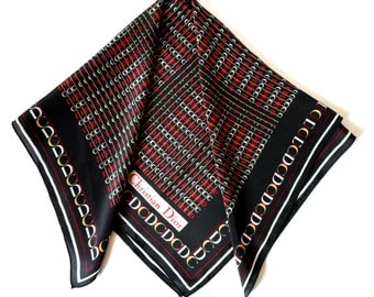 Christian Dior Scarf, Silk Scarf, Monogram Print, Black Red  White, Silk Neckerchief,  Designer Dior Square Scarf