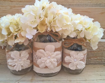 Mason Jars With Burlap, Wedding Centerpiece, Burlap Wedding Decor, Lace,Burlap Decor,Burlap Mason Jars,Burlap and Lace Mason Jars,Home Decor