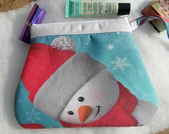 Snowman makeup bag! Snowman wash bag! Snowmanpencil case! Snowman bag!