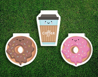 Magnetic Bookmark | Donut + Coffee Break Magnet Bookmarks Pack of 3, Magnetic, Cute, Quirky, Food, Donuts, Bookmarks, Kawaii.