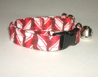 Peppermint Stripes print kitten or cat collar - you choose the size