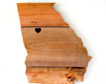 Reclaimed Wood State Cut-Out - Georgia