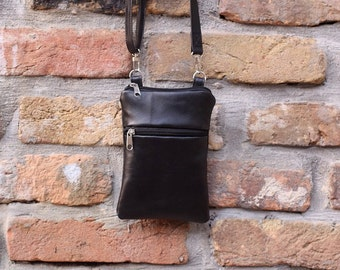 Small Crossbody Bag , Black leather bag ,  iPhone 8/ 7 / 6 plus , Iphone X  ,iPhone 8/ 7/ 6 , Samsung Galaxy ,  Travel Bag,  Christmas gift