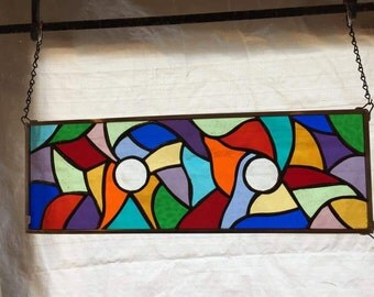 Multi-color stained glass window hanging panel