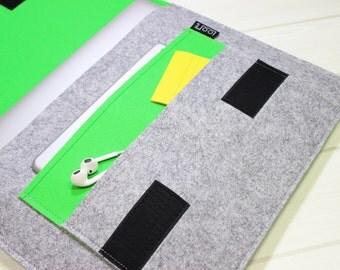 Minimal laptop case, felt laptop sleeve, gray laptop case, Macbook Pro case, green laptop case, 15 laptop case, gray laptop sleeve