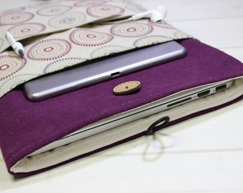 15 laptop sleeve, purple laptop case, 15 inch Macbook case, Macbook Pro sleeve, burgundy laptop case, linen laptop sleeve, Pro Retina sleeve
