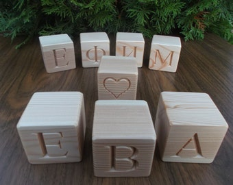 Personalized Russian wooden blocks, Handmade gift, Wood name blocks, Natural nursery home decor, Baby name blocks,Wooden toy,Wooden alphabet