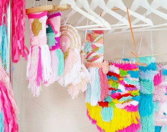 CUSTOM SMALL Weaving tapestry wall hanging fibre art  by Odd Kids Out- Design your own with Alana!