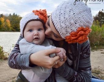 Woman's Crochet Hat With Oversized Crochet Flower