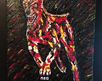 Resident Evil DOG zombie rage attack science Fiction Horror video games Original Art Unique Artwork Acrylic Acrylique Painting by artist NEO