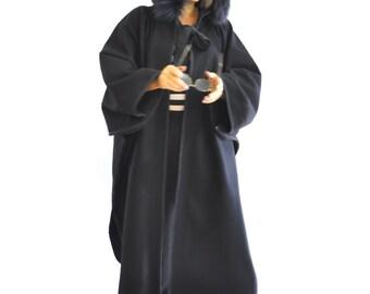 Maxi Black Wool Cape Coat Cloak/Extravagant Hooded Cape/Woman Winter Coat/Black fur hooded Coat/Extravagant coat/Oversize long cape/C1340
