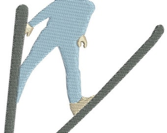4 Skiing people embroidery design