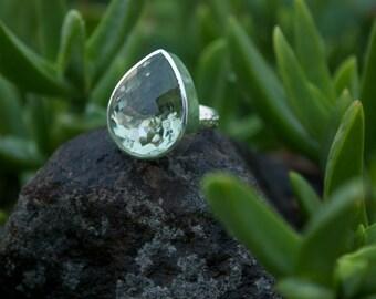 Statement Teardrop Green Amethyst Prasiolite Ring in Sterling Silver