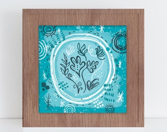 8X8 Abstract Flower Print, Turquoise Blue with Texture