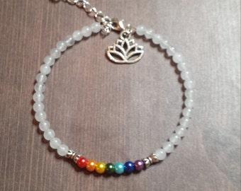 Chakra lotus charm  bracelet in red white ivory