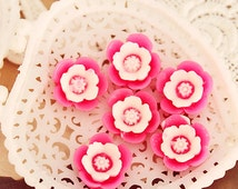 12mm Flowers Cabochons Colorful Resin Rose Flowers Cameo Flat Back  s9r (5pcs)