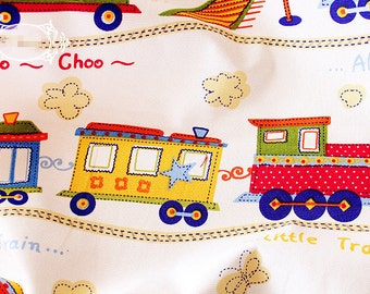 Children Fabric With Cartoon Train Linen Cotton Fabric Upholstery Fabric Home Decor Bag Curtain Quiltting - 1/2 yard f95