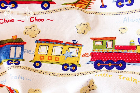 Children fabric with cartoon train linen cotton fabric for Kids train fabric