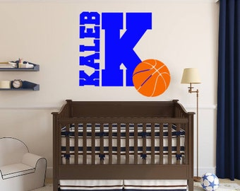 Personalized, Basketball, Initial, Name, Vinyl, Wall, Decal, Boy, Girl, Bedroom, Children, Teen, Home, Decor, Sports, Ball