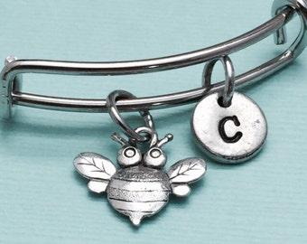 Bee bangle bracelet, bumble bee bracelet, bee charm bracelet, personalized bracelet, initial bracelet, bangle bracelet, silver bracelet