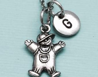 Little boy necklace, little boy charm, boy necklace, personalized necklace, initial necklace, initial charm, monogram