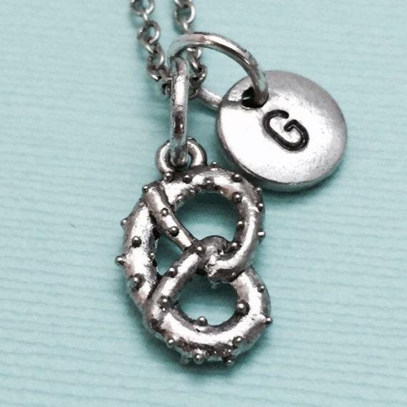 pretzel charm necklace pretzel jewelry food necklace food