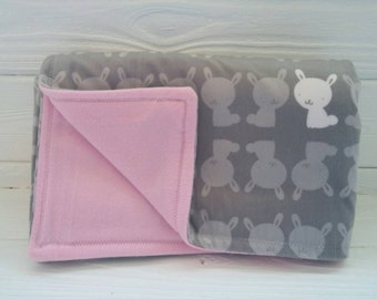 Pink and Gray Bunnies Stroller Blanket
