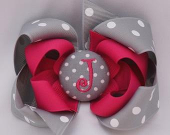 Fairytale Monogrammed Button Hair Bow