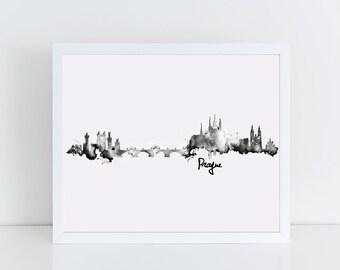 Black and White Watercolor Prague Skyline Print, Modern Minimalist Travel Wall Art