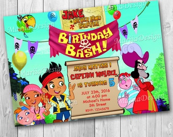Jake and the Never Land Pirates Party Invitation - Birthday Invitation - Pirates Party - ONLY FILE